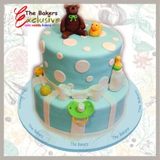 BABY SHOWER & NEW BORN two tiers cake