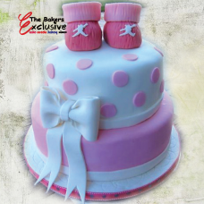 BABY SHOWER & NEW BORN TWO TIERS Round Shape Cake